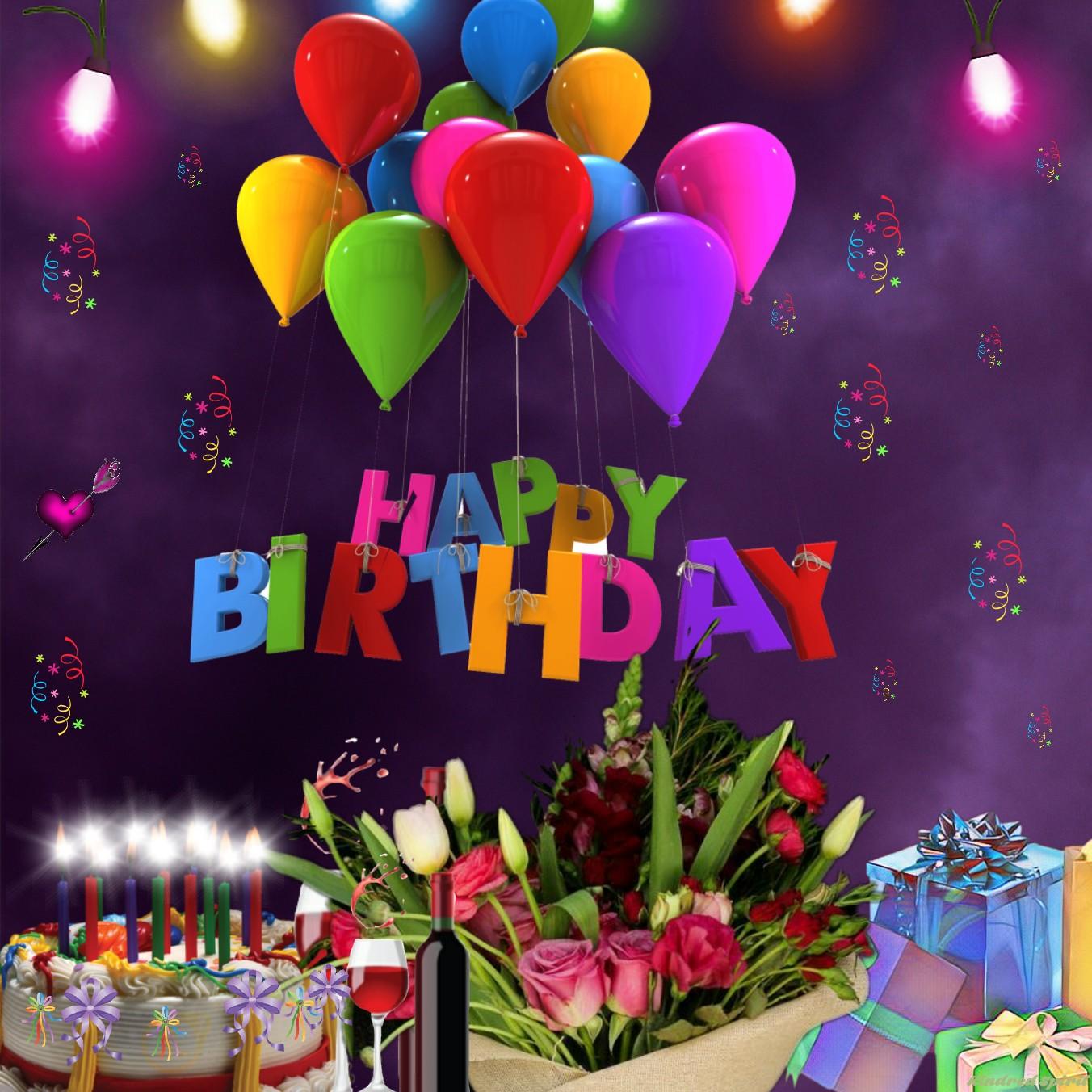 Happy Birthday Cake Presents Wine Flowers Balloons