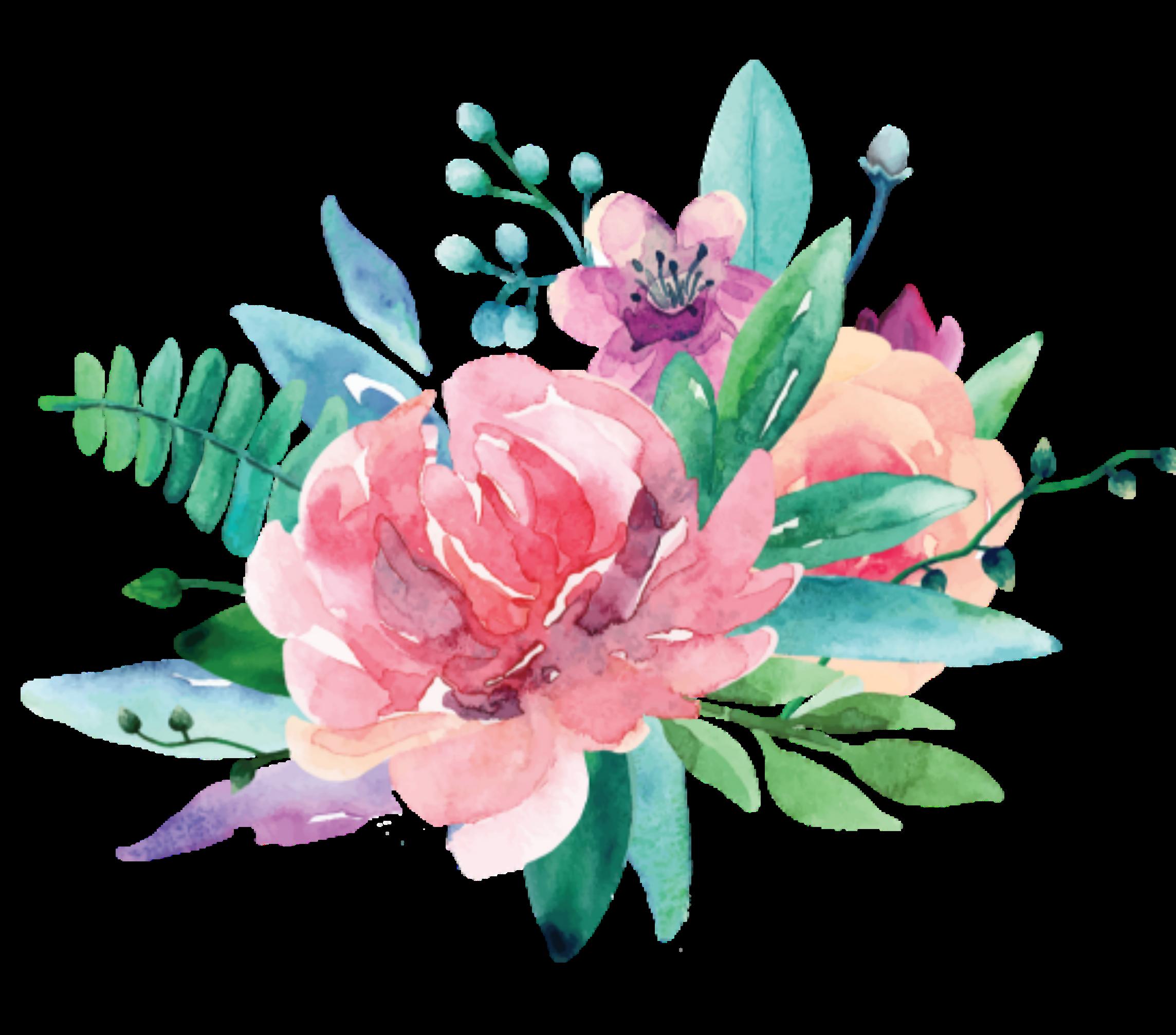 ftestickers watercolor flowers pink...