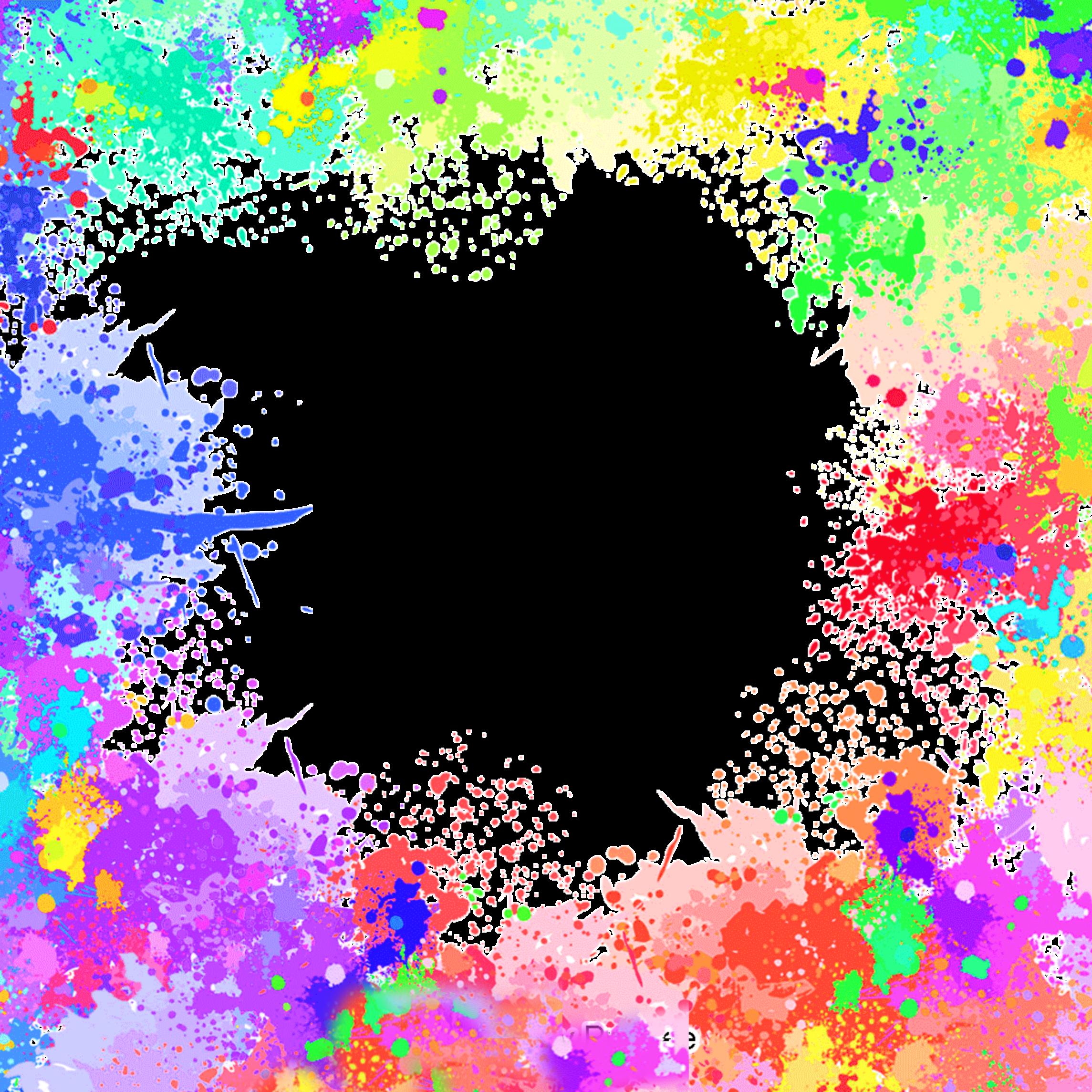 ftestickers watercolor paint splatter frame borders col...