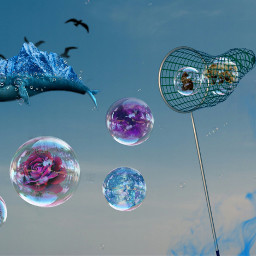 freetoedit bubbles animals flowers catching