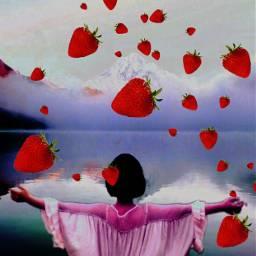 selfiestickerremix freetoedit myedit doubleexposure strawberries