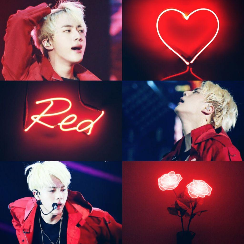 Freetoedit Kimseokjin Jin Bts Kpop Wallpaper Grade Red