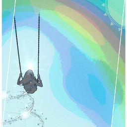 freetoedit myedit watercoloreffect colors distort shapemask minimalframes girl swing rainbow magic
