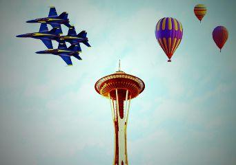 madewithpicsart myedit blueangels hotairballoon spaceneedle freetoedit
