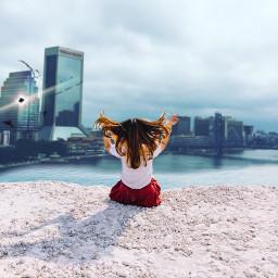 freetoedit woman city beach cliffsedge