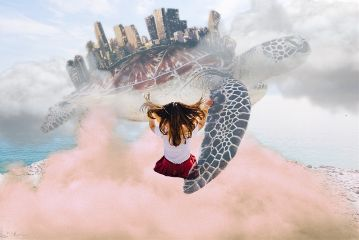 freetoedit girl clouds turtle world
