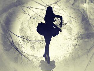 freetoedit girldancinginthemoonlight blackandwhitecross moon girl