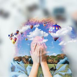 doubleexposure silhouettestencil clouds hotairballoons couple freetoedit