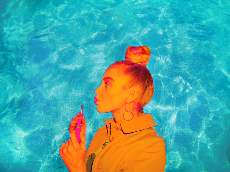 #freetoedit #pool #ocean #water #girl #orange #lipstick #lipgloss #lips #bun #sideprofile #interesting #art #collage #summer #vibes #tumblr #trendy #earrin