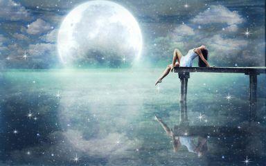 girl lake water moon sky freetoedit