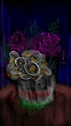 flowers pinkroses whiteflowers vase bouquet