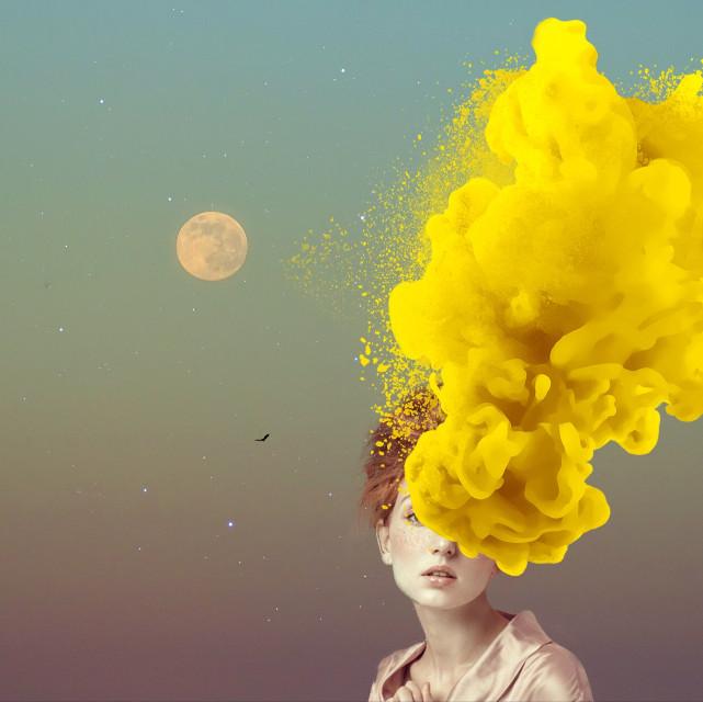 Set it free....  #edit #art #doubleexposure #moon #gradient #yellow Lovely original by @naomi-armendariz Sticker by @otarisalakaia