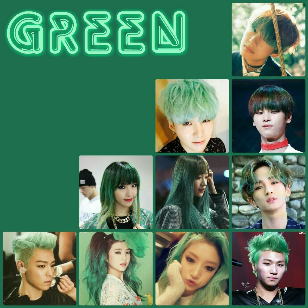 Kpop Idols With Green Hair V Bts Suga Bts N Vi