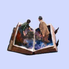 galaxy book collage vintage surrealism