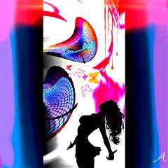 freetoedit silhouette girl colorful picture