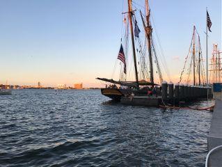 sunset ships sea