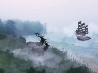 freetoedit deer trees water ship