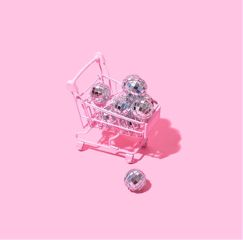 freetoedit pastel pink shoppingcart discoball