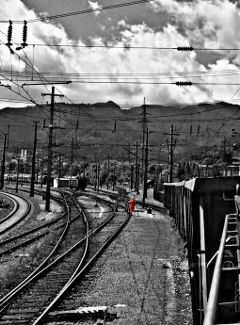 blackandwhite worker orange train