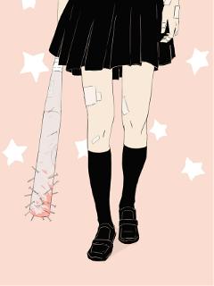 anime art female skirt pastel