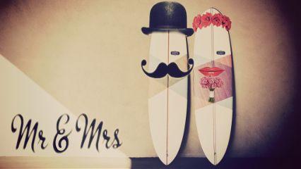 love mr&mrs amor surfboard freetoedit