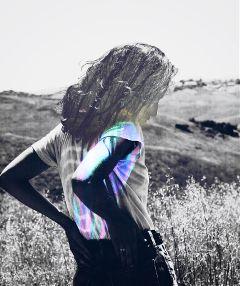 doubleexposure rainbow girl