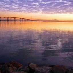 landscape dawn sanfranciscobay bridge sky