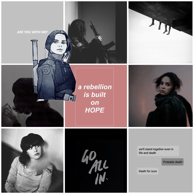"""my favorite 5'2"""" rebel. gosh she's just so adorable!! i love her so much ahhh #jynerso #rogueone #freetoedit"""