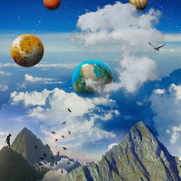 planets space galaxy universe mountains clouds atmospheric edited myedit madewithpicsart freetoedit