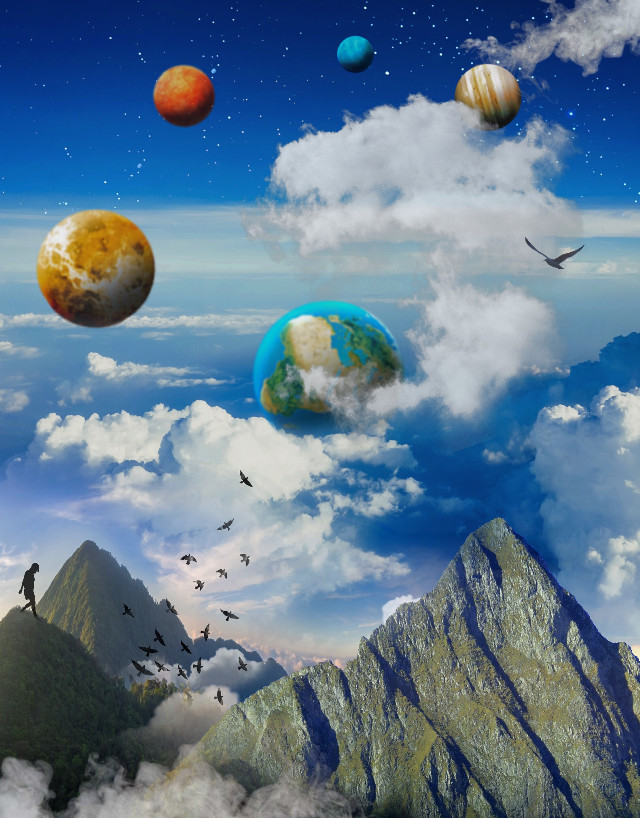 Universal Traveler (#planets came out kinda blurry ☹️) #space #galaxy #universe #mountains #clouds #atmospheric #edited #myedit #madewithpicsart#freetoedit