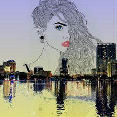 girl outline city water reflection freetoedit