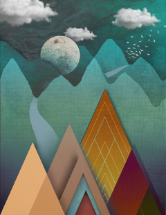 stylized mountains moon clouds nature
