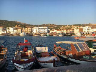 landscape ships boats sunset town