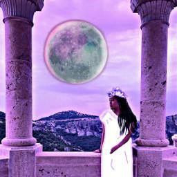 freetoedit goddess moon columnsremix