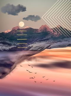 freetoedit upsidedown mountains moon geometric