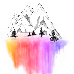 mountain watercolour forest drawing illustration freetoedit