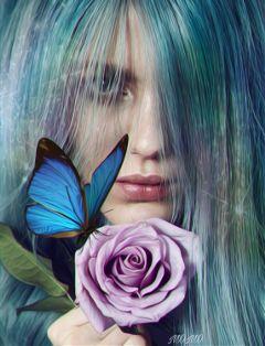 freetoedit womanportrait butterfly rainbowlight