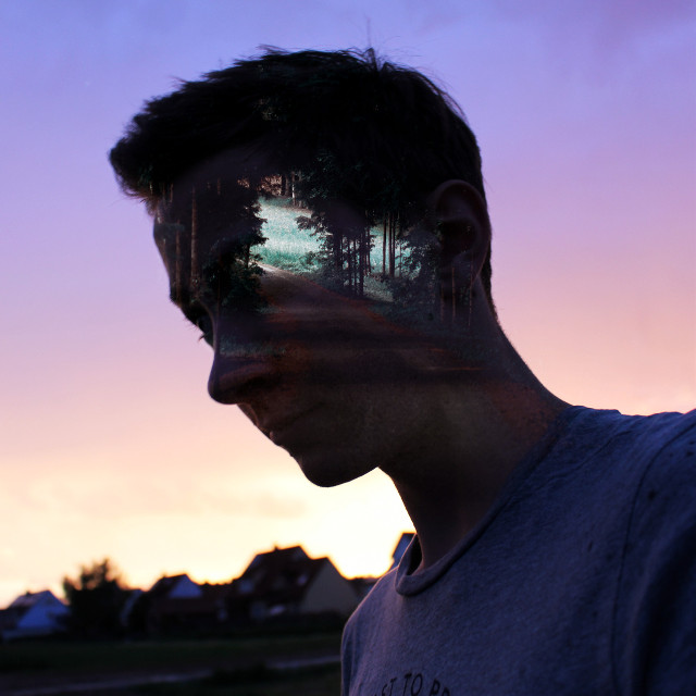 Keep following your way even if it isn't the easiest one. #doubleexposure #silhouette #edited #forest #sunset #blur #surreal #surrealism op: unsplash.com