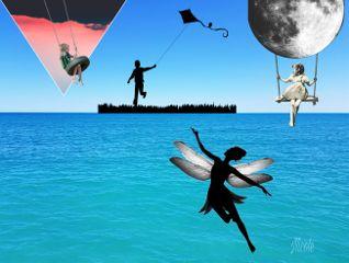freetoedit childhood silhouette swinggirls kite