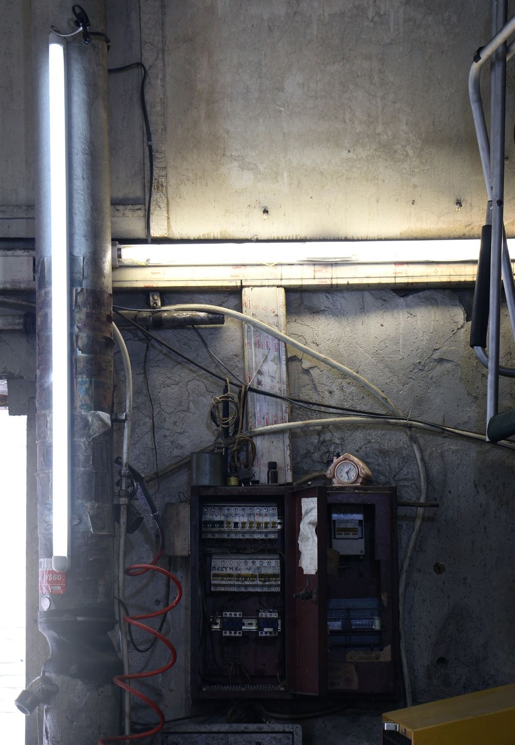 Excellent Lamp Light Wall Electricity Metal Concrete Wire Garage Wiring Database Lukepterrageneticorg