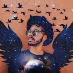 freetoedit wings galaxy moon doubleexposure