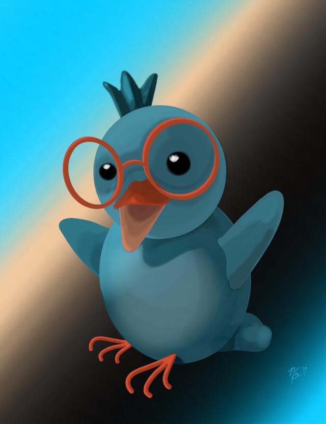 #madewithpicsartdrawingtools #blueandorange #mydrawing Drawn for a friend @ggfla #bird