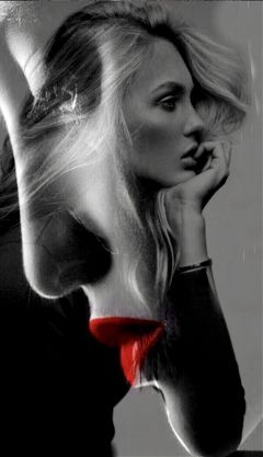woman doubleexposure face blackandwhite red freetoedit