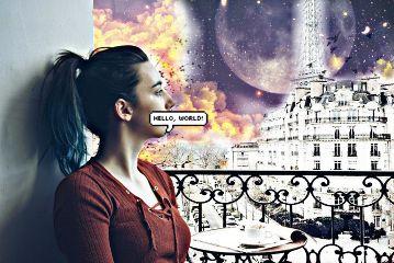 freetoedit daydreaming girl paris galaxy