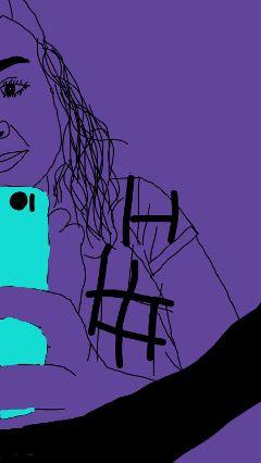 mirror outline purple freetoedit