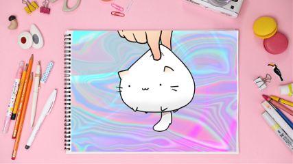 freetoedit holographic cat cute notebook