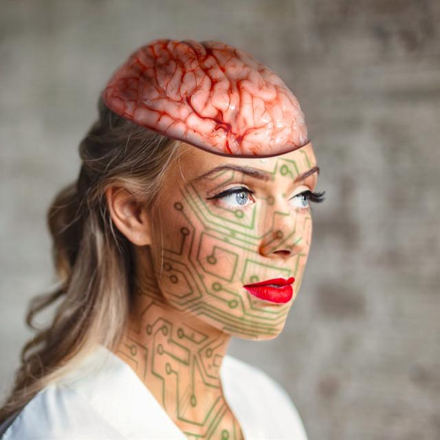 #brain #woman #blueeyes #blonde #prank #blood #surrealism #surreal #photoart