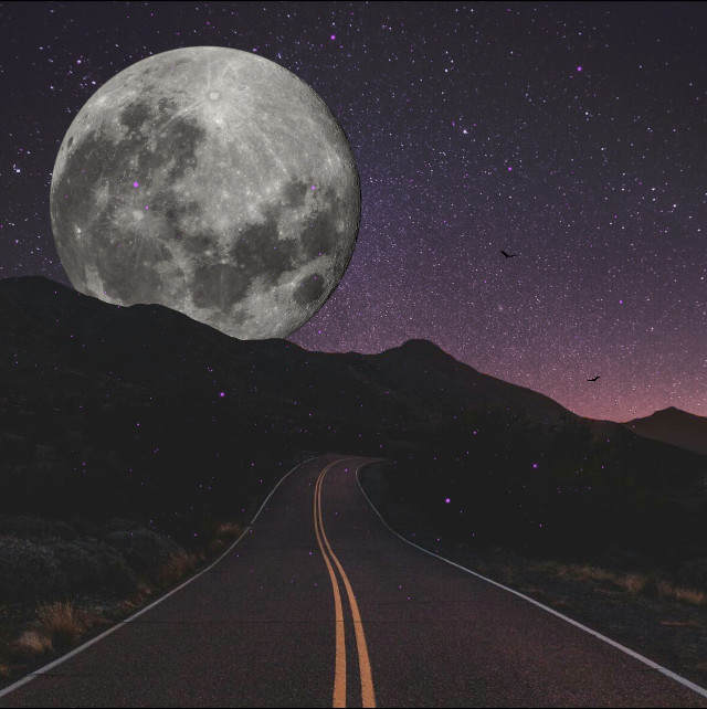 To the moon🌙  #edit #art #road #moon #sky #doubleexposure Original by @mjaimes107 @bzein I used your sky:)