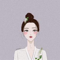freetoedit girl Chinese illustration painting beauty portrait White natural purple pink