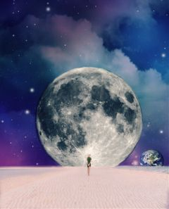 freetoedit moon planet horizon beach